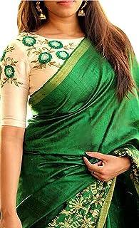 Navya Export Women's Silk saree With Blouse Piece (Green)