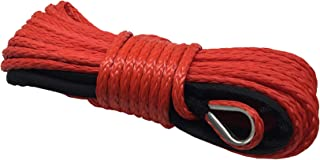 shamofeng Red/Blue/Yellow/Gray Rope 6mmX15m for Truck/SUV/Trailer/Jeep/ATV/UTV winches (Red)