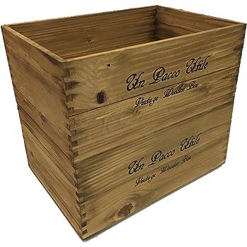 収納 木箱 アンティーク風ウッドボックス ※2個セット (ライトブラウン)