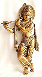 Akriti Brass Art Wares Metal Krishna Wall Décor Showpiece, Krishna Wall Hanging, Living Room, Decorative Wall décor; Met...