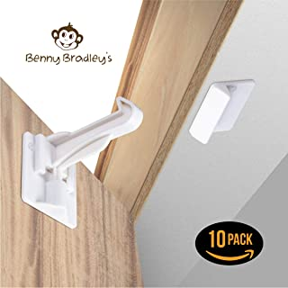 Upgraded Invisible Baby Proofing Cabinet Latch Locks (10 Pack) - No Drilling or Tools Required for Installation, Universal for All Cabinets and Drawers, Works with Countertop Overhangs, Highly Secure