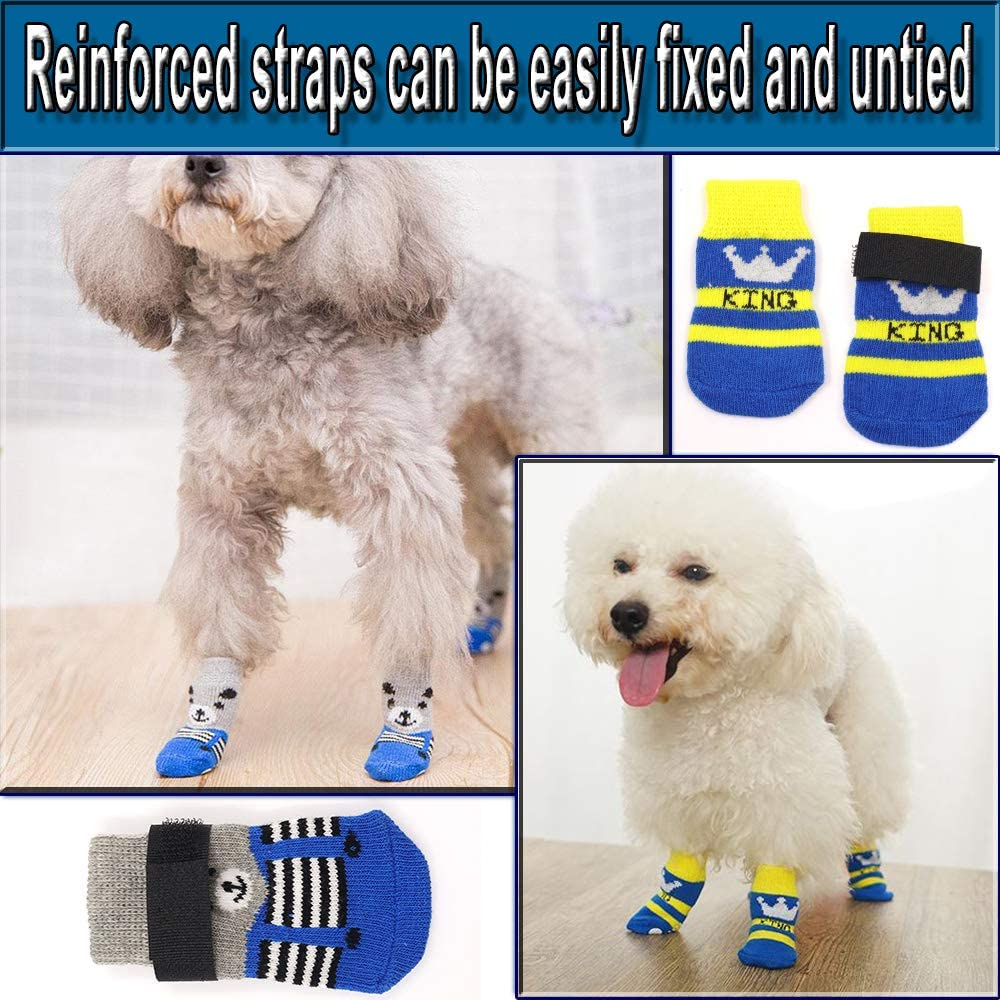 Pet Paw Protection Rubber Sole for Puppy Cat Indoor Outdoor Wear on Hardwood Floor L N////A 4 Pairs Anti-Slip Dog Socks with Adjustable Straps