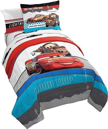 Disney Pixar Cars Racing Machine 5 Piece Twin Bed Set - Includes Comforter & Sheet Set - Bedding Features Lightning M...