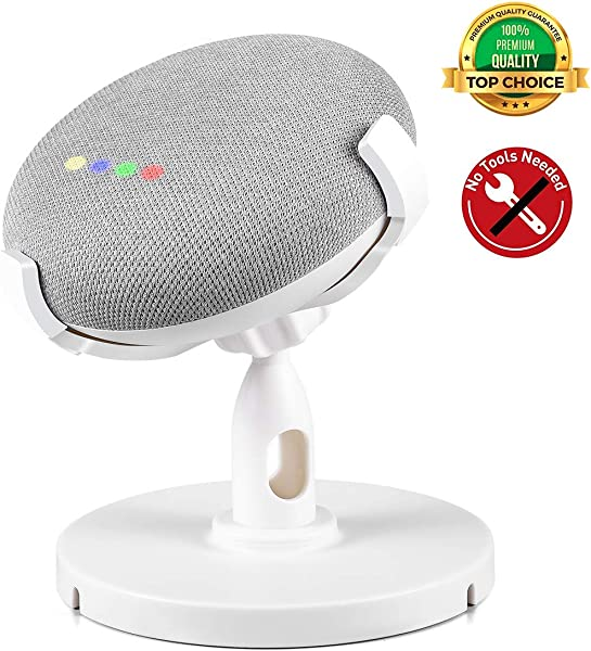CaseBuy Table Pedestal Mount Holder Stand For Google Home Mini 360 Degrees Rotated Elastic Material Rubber Desk Mount Holder Stand And Improves Sound Visibility And Appearance For Google Home Mini