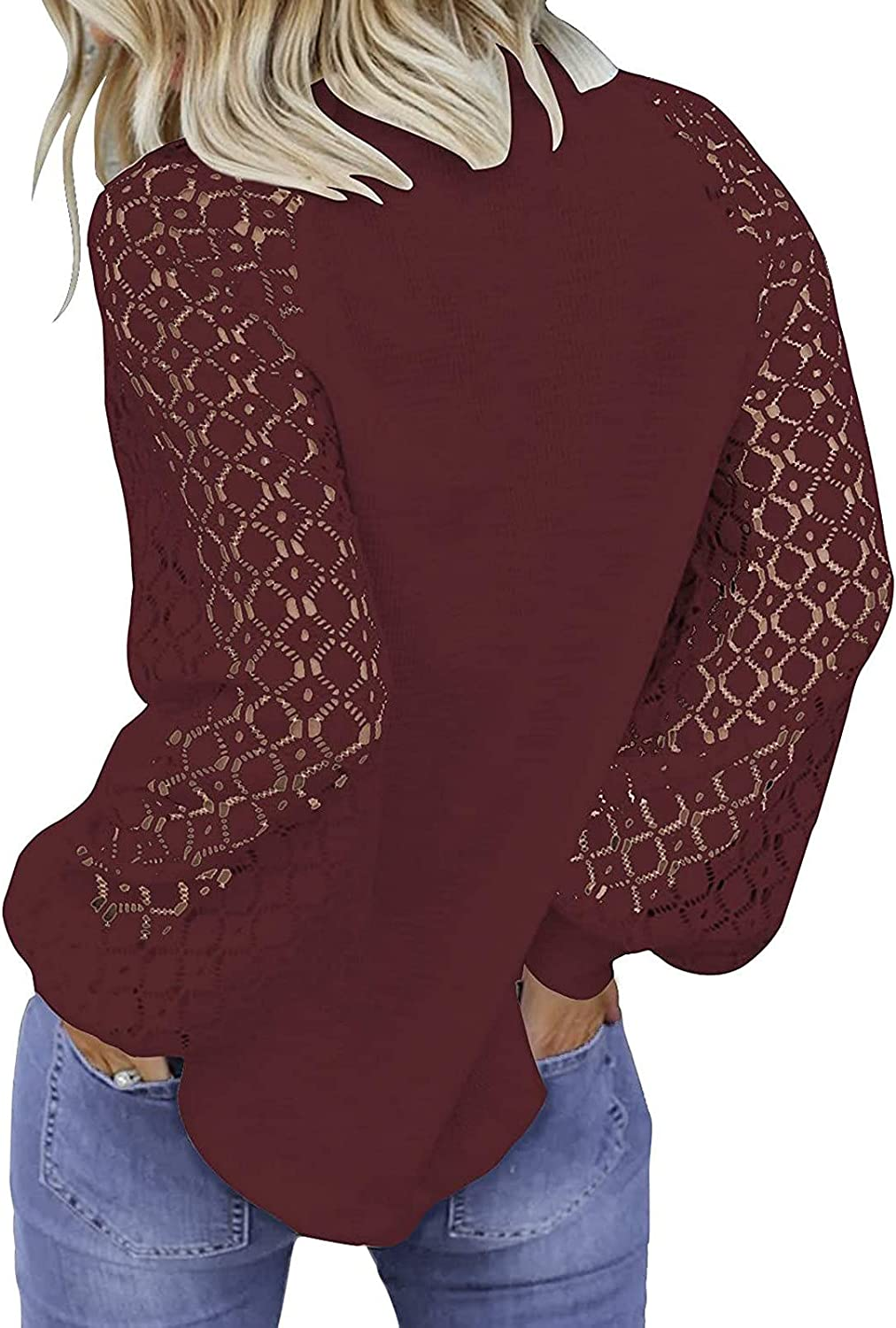 Long Sleeve for Women Casual Loose Blouse Tee Shirts Lace Solid O-Neck Sweatershirt Pullover Tops