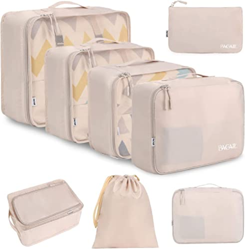BAGAIL 8 Set Packing Cubes, Lightweight Travel Luggage Organizers with Shoe Bag, Toiletry Bag & Laundry Bag (Cream)