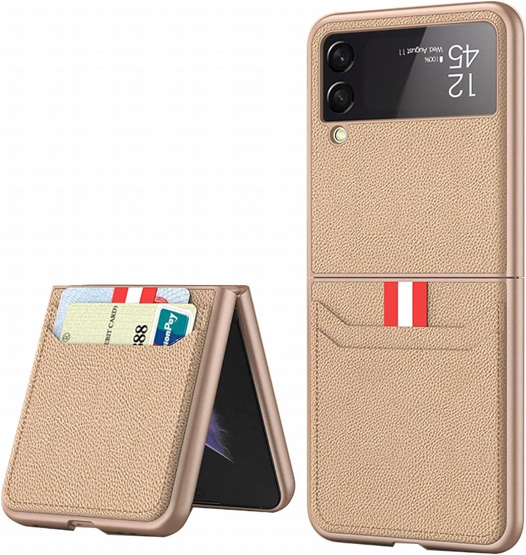 FUTURECASE Galaxy Z Flip 3 Case, Z Flip 3 5G Phone Case, Samsung z Flip 3 Case, PU Leather Wallet Card Holder Case for Samsung Galaxy z Flip 3 Samsung ZFlip 3 ZFlip3 Z Flip3 Coque Funda Cover(Brown)