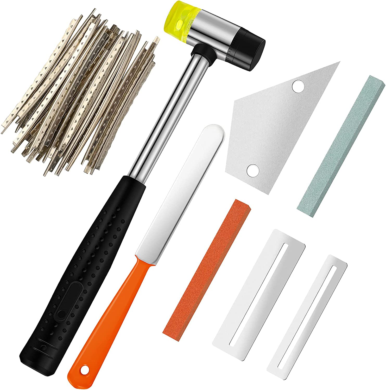 Guitar Luthier Tool Kit Include Guitar Fret Crowning File, Dual-Head Guitar Bass Fret Wire Rubber Hammer, 2 Fingerboard Guard Protectors, 2.2 mm Steel Guitar Fret Wires, Grinding Stone and Fret Rocker