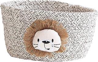 Paniers de rangement en corde de coton, panier de rangement tissé à la main d'animaux de dessin animé, panier de tri de dé...