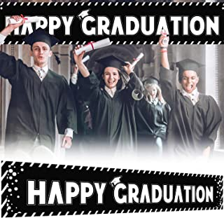 9.8 x 1.6 ft Large Sign Happy Graduation Banner - Black Perfect Congrats Grad Party Decorations Backdrop