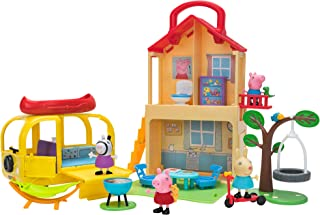 Peppa Pig Pop n' Playhouse and Play n' Go Campervan Combo Pack, Includes 4 Character Toy Figures Plus Playset Accessories ...