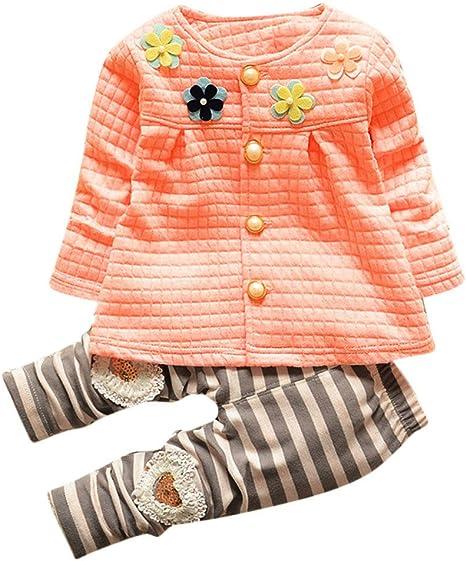 Kinder M/ädchen Warm Langarm Mantel Sch/öne Herbst Jacken T Shirts Blume Cardigan Baumwolle Baby Bekleidung Kleidungssets Goosuny Babyj/äckchen Lange Hosen