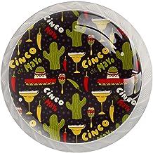 ATOMO 4 Stks Kast Knoppen voor Lade Dressoir Keuken Kasten Garderobe Badkamer Cinco De Mayo Planten Patroon