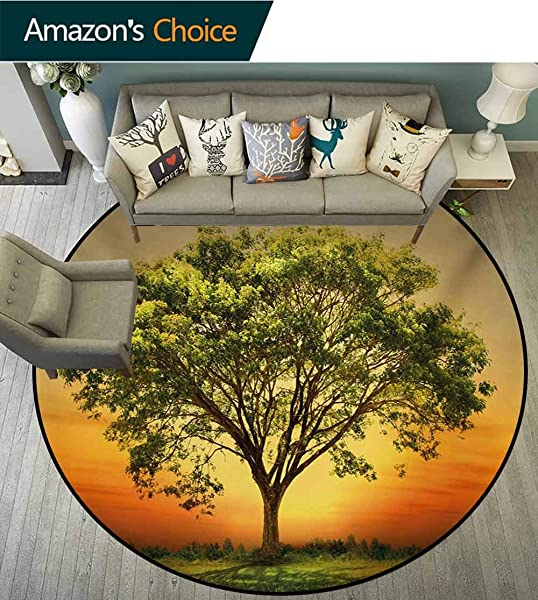 RUGSMAT Landscape Modern Washable Round Bath Mat Sunset Scenery In A Valley With A Big Old Tree Artwork Photo Non Slip Bathroom Soft Floor Mat Home Decor Diameter 47 Inch Marigold Fern Green And Grey