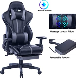 Blue Whale Gaming Chair with Adjustable Massage Lumbar Pillow,Retractable Footrest and Headrest -Racing Ergonomic High-Back PU Leather Office Computer Executive Desk Chair