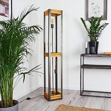 Lampadaire Apia en bois et métal argenté, luminaire rétro-industriel avec interrupteur au sol, idéal dans un salon vintage, pour 3 ampoules E27 max. 10 Watt, compatible ampoules LED