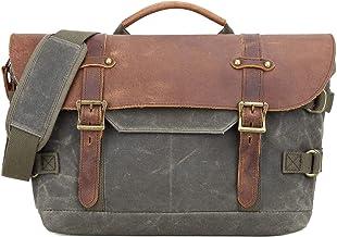 Neuleben Wasserdicht Kameratasche Fototasche aus gewachstem Canvas Leder Vintage Umhängetasche Messenger Bag für DSLR Kamera Zwei Objektive Grün