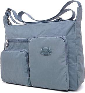 Große Umhängetaschen Damen Leichte Schultertasche Tasche Crossover Handtasche Nylon Sporttasche Stofftasche Wasserdicht (G...