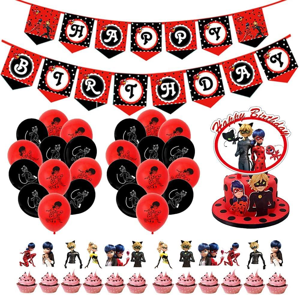 Suministros Cumpleaños, Kit de Decoraciones de Cumpleaños de Ladybug, Decoracion de Fiesta Ladybug, Primeros de la torta para niña Fiesta de cumpleaños Fiesta Baby Shower