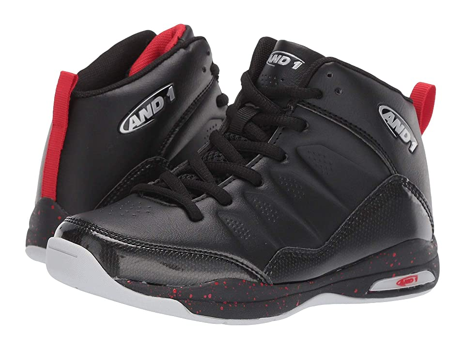 AND1 Kids Breakout (Little Kid/Big Kid) (Black/Chinese Red/Silver) Boys Shoes