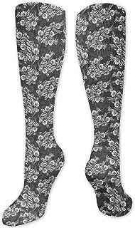 Fuliya, Calcetines altos de compresión con patrón étnico con rombos triángulos composición digital, calcetines para mujeres y hombres, lo mejor para correr, atletismo, senderismo, viajes, vuelo.