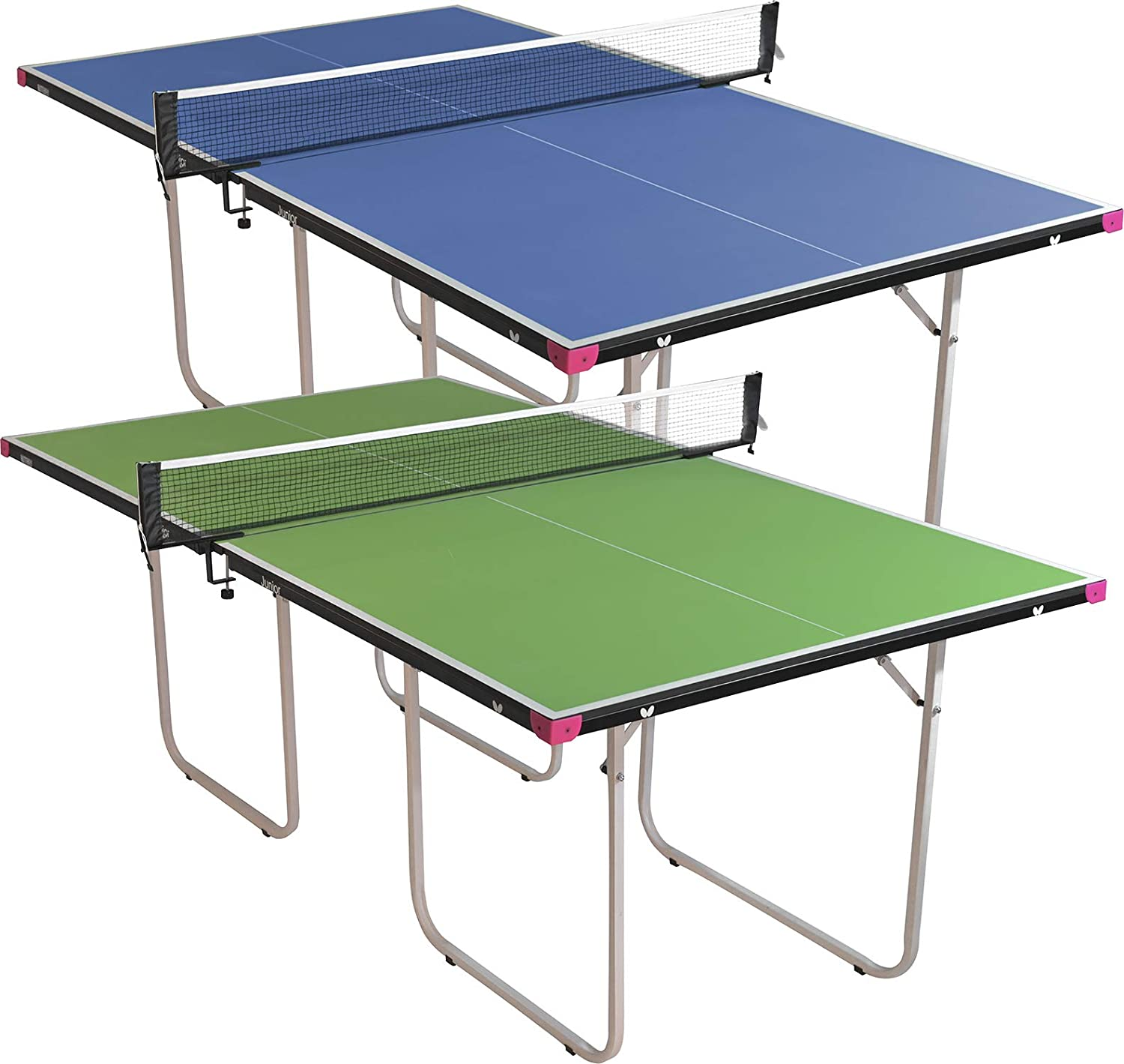 Amazon.com: Butterfly Junior Stationary Ping Pong Table - 3/4 Size Table Tennis Table - Space Saver Game Table for Game Room - Regulation Height Ping Pong Table - Sturdy Frame - Ships
