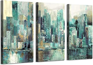 Abstract NYC Canvas Wall Art: Teal City Skyline Pictures Cityscape Artwork Prints on Wrapped Canvas Paintings for Office (34'' x 20'' x 3 Panels)
