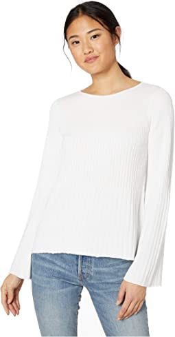 Madaline Ribbed Knit Long Sleeve Boat Neck Swing Pullover Sweater