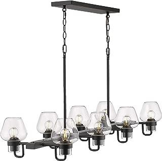 Beionxii 8-Light Kitchen Island Lighting, 36 Inch Farmhouse Dining Room Light Linear Pendant Lamp, Black Finish with Brandy Glass - BXB001 Series