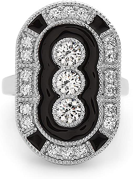 Crush & Fancy Black and White Pave Crystal Art Deco Ring | 925 Sterling Silver Vintage Ring | Size 6,7, 8