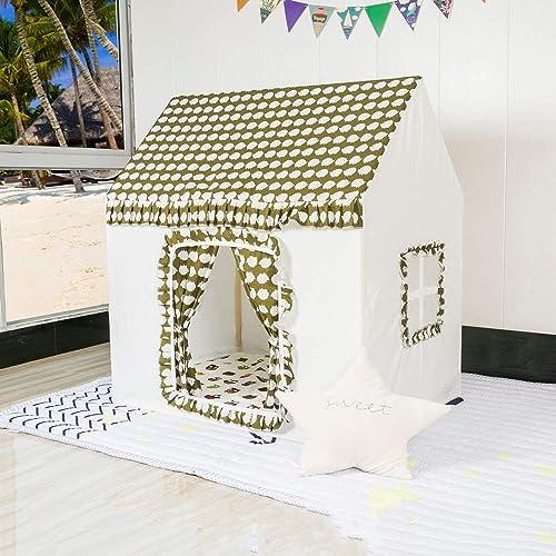 Mogicry Kreatives mädchen Schloss Kinderzelt Massivholz Junge Haus Haushalt Prop Dekoration Muster Spiel Haus Prinzessin Haus Spielzeug Haus Tipi Tragen Fall Für Indoor Outdoor Kinder 1+