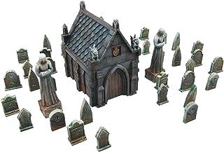 EnderToys Mausoleum kyrkogårdsscen, terränglandskap för bord 28 mm miniatyrer krigslek, 3D-tryck och målbar