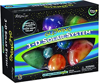 Great Explorations 3-D Solar System Glow In The Dark Ceiling Hanging Kit 3D Planets and Star Stickers Create the Milky Way...