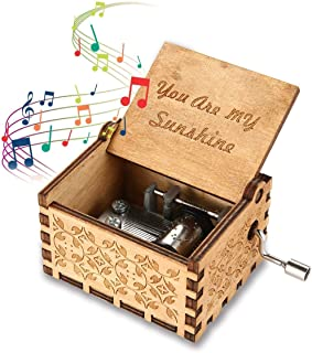 Music Box You are My Sunshine Tone Wooden Hand Shake Music Box,Laser Engraved Vintage Wooden Musical Box Gifts for Birthday Christmas Valentine's Day