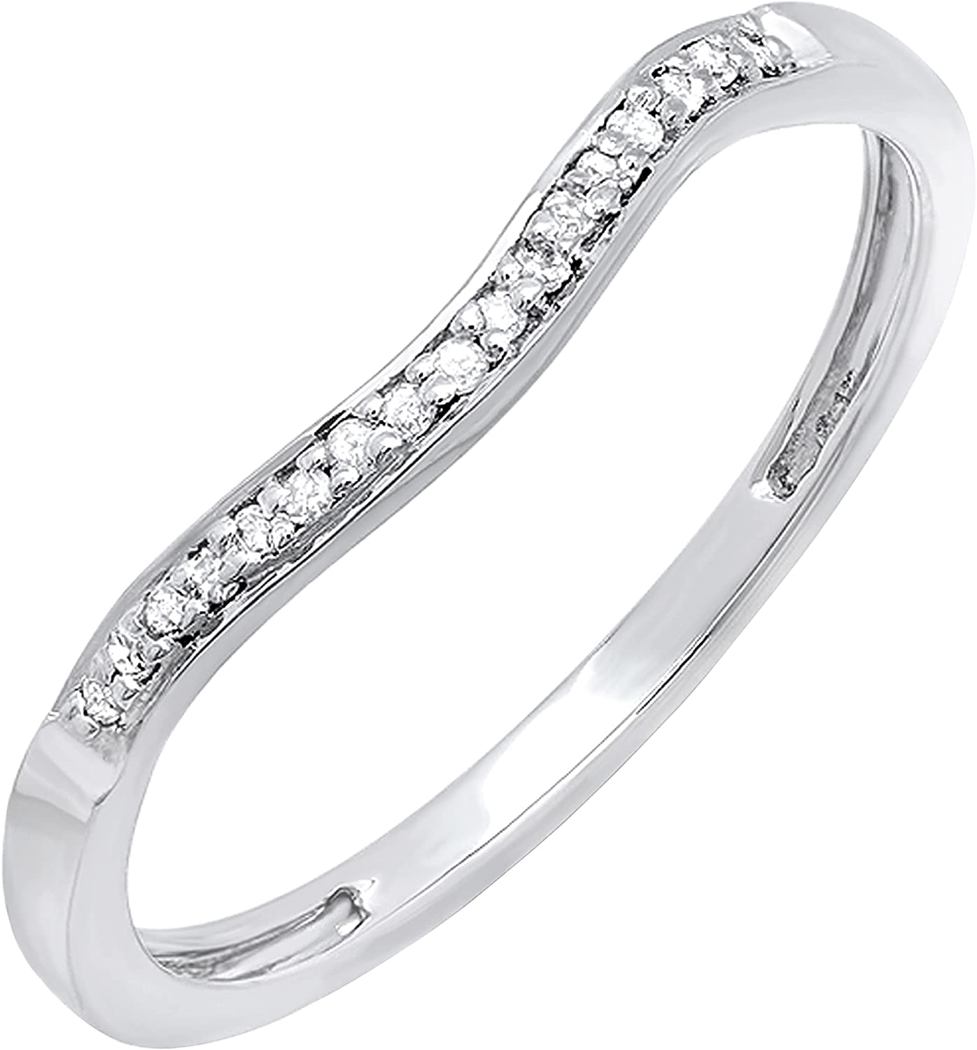 Dazzlingrock Collection 0.10 Carat (ctw) Round Diamond Ladies Enhancer Wrap Guard Curved Style Stackable Wedding Band 1/10 CT | Available in 10K/14K/18K Gold