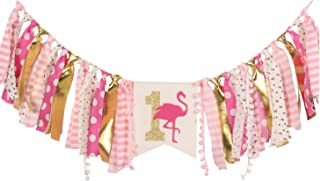 WAOUH HighChair Banner for 1st Birthday - First Birthday Decorations for Photo Booth Props, Birthday Souvenir and Gifts for Kids, Best Party Supplies(Flamingo)