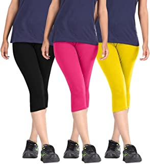 ROOLIUMS ® (Brand Factory Outlet Womens Cotton Capri Combo Pack of 3, 4 Way, 190 GSM - Free Size (Black, Pink, Yellow)