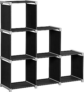 SONGMICS 6-Cube Bookcase, DIY Cube Storage Rack, Staircase Organiser in Living Room, Bedroom, Children's Room, Study, for ...