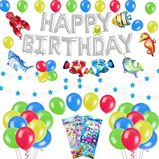 53 PACK Sea World Birthday Party Decorations for Kids - Foil Balloons Happy Birthday Banner, Colorful Balloons, Sea Animals Balloons, Blue Star Garland, Cute Cartoon Puffy Stickers | Aster Birthday Supplies Set