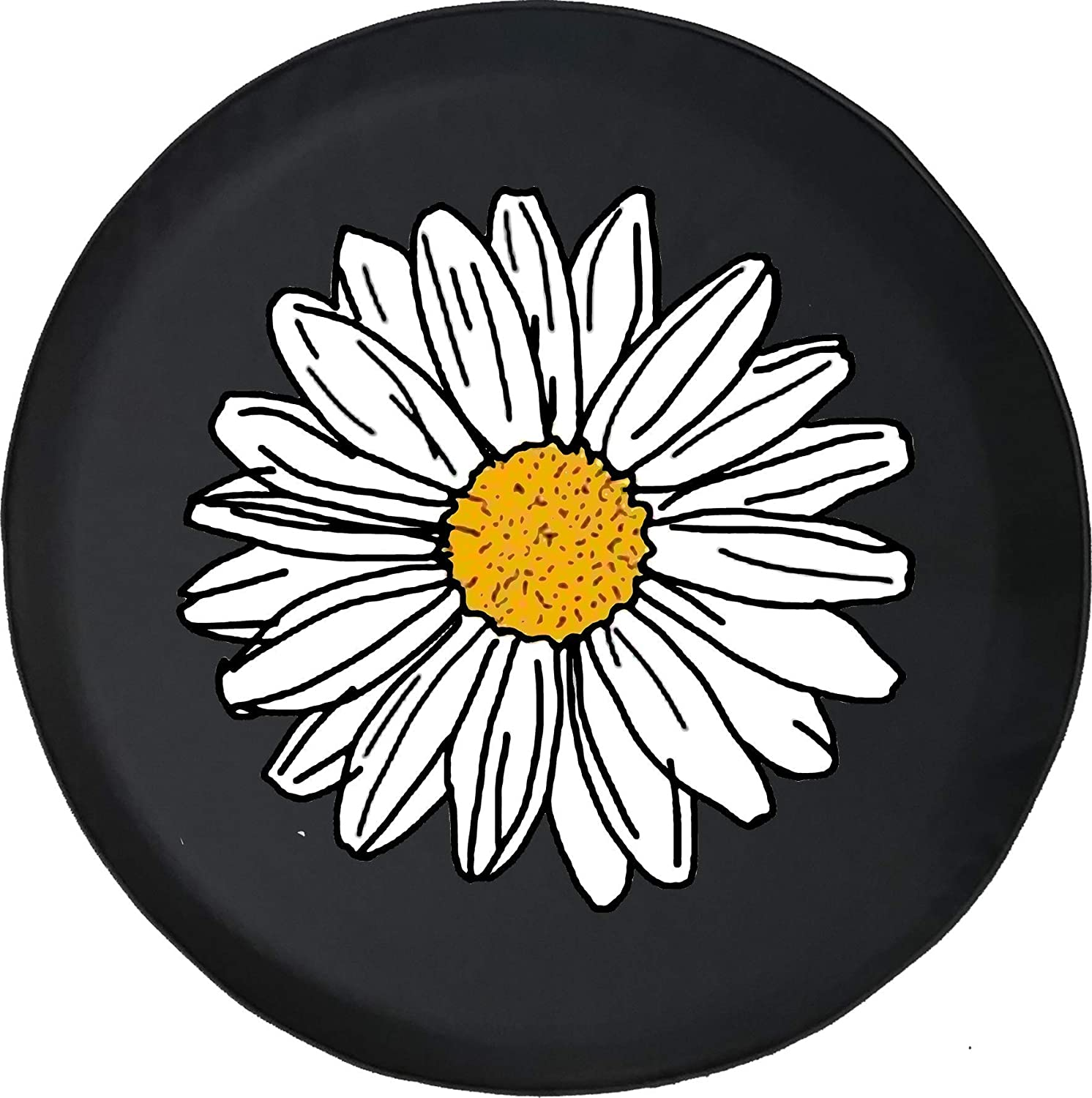 WASSUP Classic Smiley Daisy Tire Cover,Universal Dustproof and Waterproof Wheel Cover