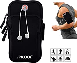 KACOOL Armband for Running Washable Mobile Holder Arm Band Sweat-Proof for Fitness Gym Outdoor Sports, Armband for Phone Under 6.0 Inch Xiaomi Oneplus Samsung iPhone Motorola (Black)