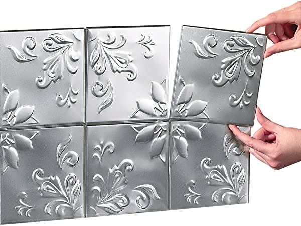 Tin Peel Stick Raised Floral Pattern Backsplash Kitchen DIY Wall Tiles Set Of 16 Silver
