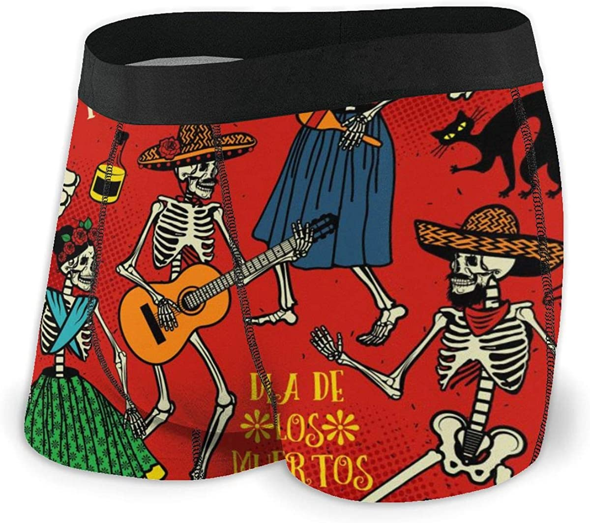 Mens Boxer Briefs Dance Skull Skeletons Music Red Boys Trunks Underwear Short Leg Breathable Man