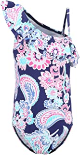 Girls One Piece Swimsuits One Shoulder Ruffle Swimwear Floral Bathing Suit