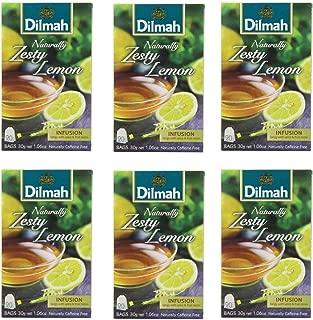 Dilmah Naturally Zesty Lemon 20 Tea Bags X 6 Pack - Herbal Tea Caffeine Free - Pure Ceylon Dilmah Tea Box