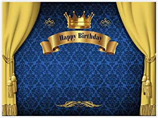 Allenjoy 8x6ft Royal Prince Backdrop King Gold Curtain Background Baby Shower Happy Birthday Party Cake Dessert Table Decor Decoation Banner Photo Booth