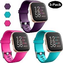 GEAK Sports Bands for Fitbit Versa/Fitbit Versa 2/Fitbit Versa Lite,Soft Waterproof Wristbands Accessories Compatible Fitbit Versa Smartwatch for Women Men,3 Pack Small Large