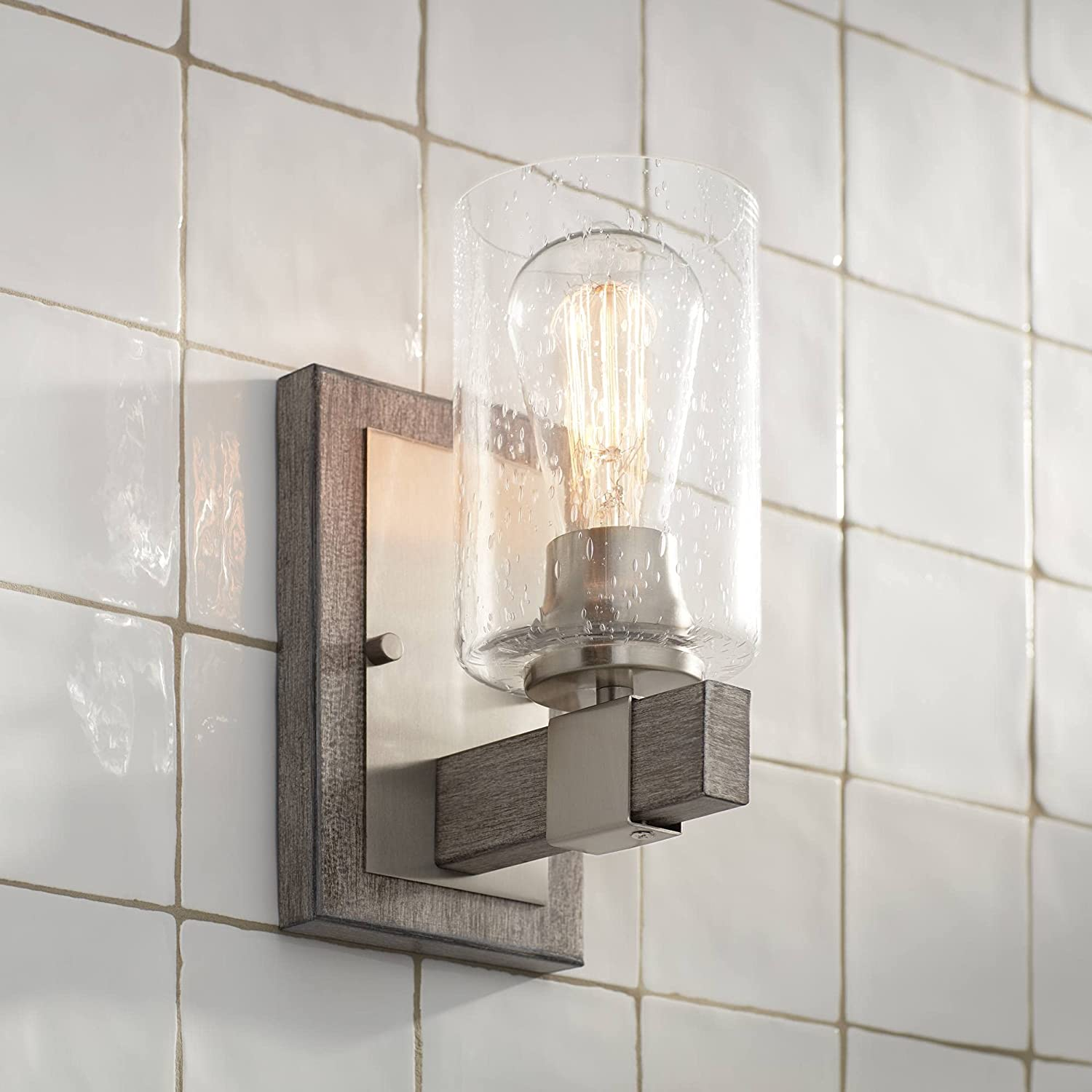 Poetry Max 45% OFF Rustic Farmhouse Industrial Wall Lighting Sconce Woo Super Special SALE held Gray