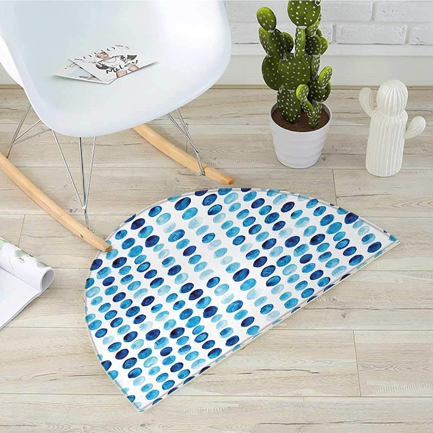 bluee Semicircular CushionRetro Hand Drawn Circles Rounds color Cells Painted Bubble Like Grungy Style Tile Entry Door Mat H 31.5  xD 47.2  bluee Pale bluee