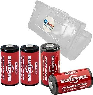 4 Pack Surefire CR123A Lithium Battery 3v with LightJunction Battery Case